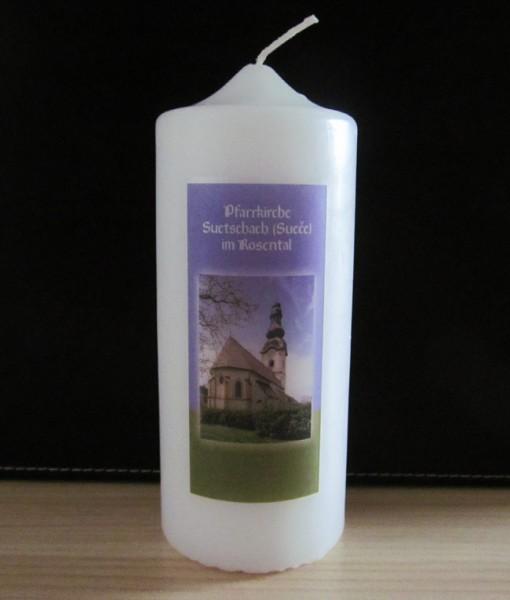 Kerze mit individuellen Bildmotiv u auch Kurzgebet zu ihrem Pfarrpatron unter dem Bild auf Wunsch