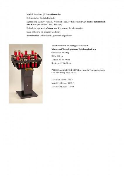 Opferlichtständer Kerze brennt AUTOMATISCH bei Münzeinwurf (1-3 Stunden) Modell rote Kerzen