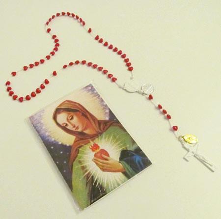 Liebesflammen Rosenkranz Set mit verschiedenen Bildern und Gebetsanleitungen