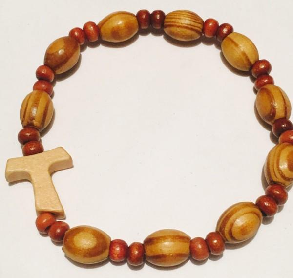 Armband aus Holz -10 Perlen m Tau Kreuz
