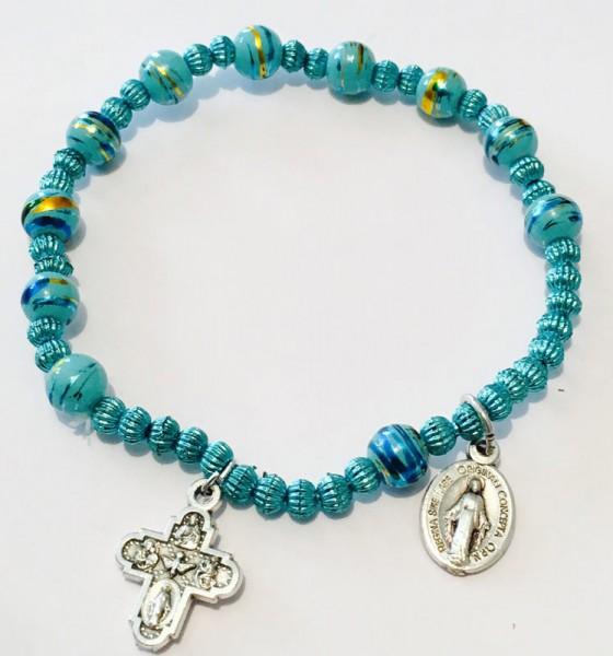 Armband grün mit Kreuz :: wunderbarer Marienmedaille
