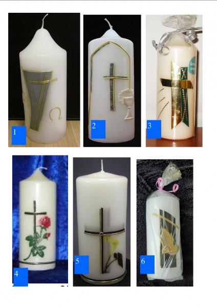 Wachsverzierte Kerzen (Trauerkerzen) verschiedene Motive