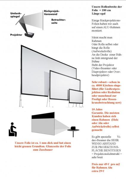 Rückprojektionsfolie (Liedtextprojektion, Bild+Meditation, Rosenkranz, Kreuzweg, Licht-Schattenspiel