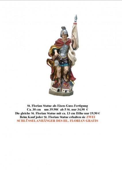 Hl.Florian Patron der Feuerwehr (Statue 30 + 15 cm) als Guss-Eisen-Fertigung
