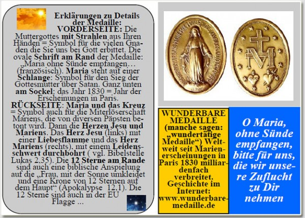 Wundertätige Medaille Gebetszettel