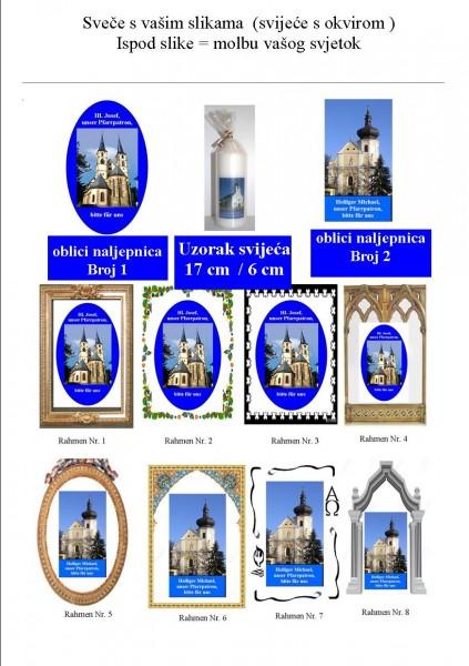 Nudimo sveče s vašim slikama vaše crkve. Veličina sveča je 17 cm in debela 6 mc. Ispod vaše svječe