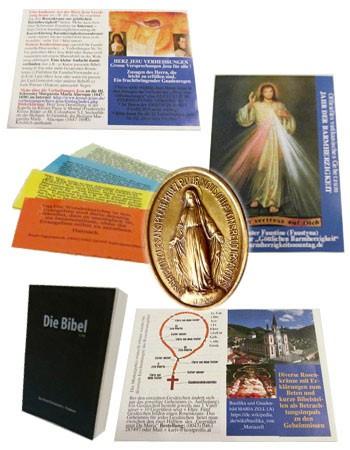 Packung Gebetsblätter inkl Marienmedaille Bibel Zitatekarten